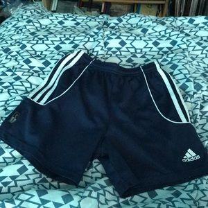 Adidas navy blue and white shorts